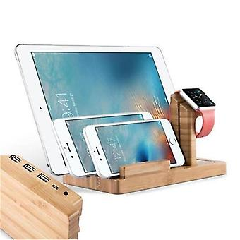 Cadorabo Docking Station - Charging station made of real wood bamboo - Power Station platform with integrated USB multi-interface for all smartphones and smartwatches from e.g. Apple, Samsung, Nokia