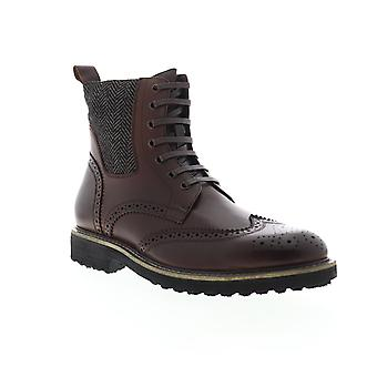 Zanzara Farber  Mens Brown Leather Lace Up Casual Dress Boots