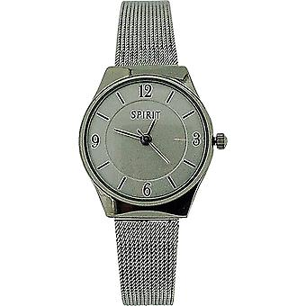 Spirit Ladies Analogue White Dial Silver Tone Mesh Fashion Watch ASPL58