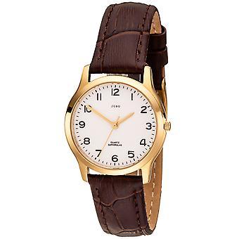 JOBO señoras muñeca reloj cuarzo analógico acero inoxidable chapado en oro correa de cuero marrón