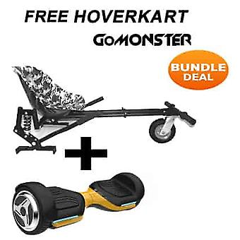 "6.5"" G PRO Gold Bluetooth Hoverboard with Camo Go Monster Hoverkart Bundle"