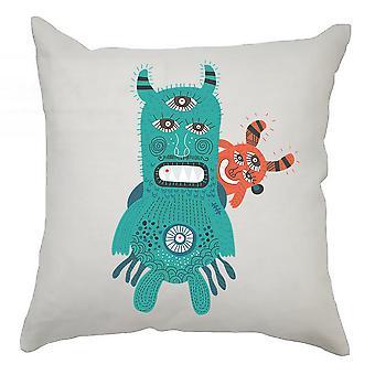 Monster Cushion Cover 40cm x 40cm - Blue and Orange Monster