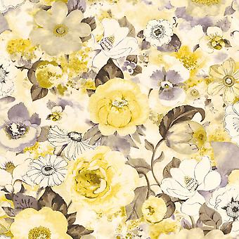 Lucy in the Sky Floral Print Wallpaper Yellow Rasch 803532 Lucy in the Sky Floral Print Wallpaper Yellow Rasch 803532