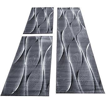 Tapis lit frontière coureur réglé 3piece onde optique gris gris foncé blanc noir marbré