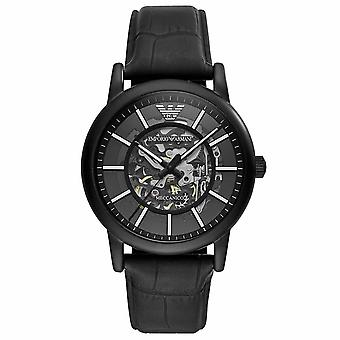Emporio Armani AR60008 Meccanico Automatic Skeletal Black Leather Men's Watch