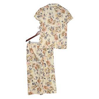 Isaac Mizrahi Live! Women's Pajama Set Floral Printed Beige A374655