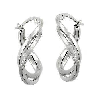 Créole argent ovale tourné mat - brillant bracelet fermoir 925 sterling silver