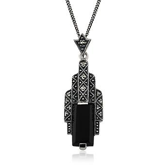 Art Deco Style Rectangle Black Onyx Cabochon & Marcasite Necklace in 925 Sterling Silver 214N435801925