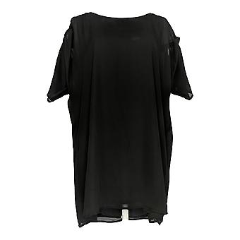 K Jordan Women's Plus Top Cold-Shoulder Chiffon Tunic Black