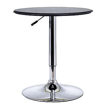 HOMCOM 93cm Adjustable Round Bar Table w/ PU Leather Top Steel Base Bistro Home Dining Kitchen Stylish Executive Black