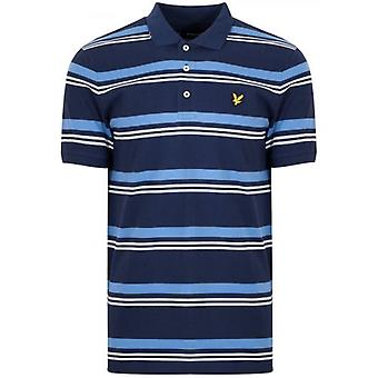 Lyle & Scott Navy Blue Striped Polo Shirt