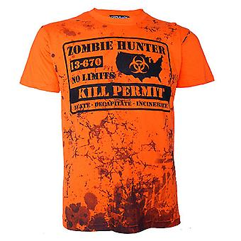 Darkside - zombie hunter - mens t-shirt - orange