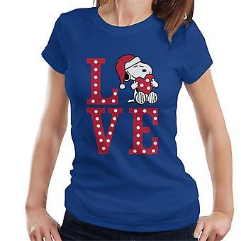Erdnüsse Snoopy Holding festliche Lit Up Liebe Herz Frauen's T-Shirt
