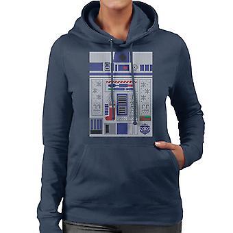 Star Wars Christmas R2 D2 Festive Knit Women's Hooded Sweatshirt