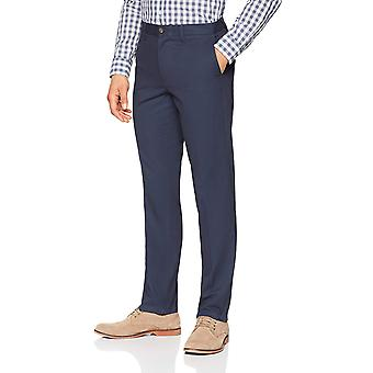 Pantalone Chino piatto resistente alle rughe essentials da uomo, Navy, 29W x 30L