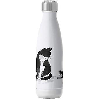 The Cat And Little Mouse Sumie Insulated Stainless Steel Water Bottle