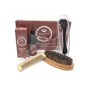 5 Pcs/ Set Men's Beard Care Set Comb Beard Oil Growth Roller Beard Essence Beard Grooming Tool Beard Care Kit|hair Removal Cream