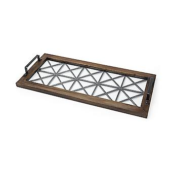 Brown Wood With Geometrically Metal Frame And Glass  Bottom Tray