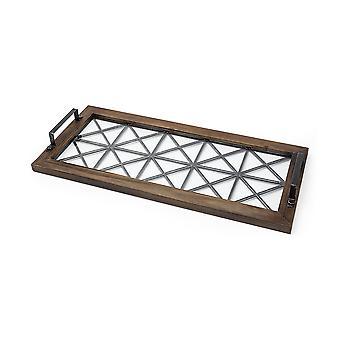 Brązowe drewno z geometrycznie metalową ramą i szklaną tacą dolną