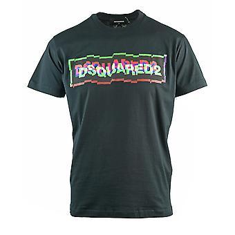 Dsquared2 תיבה מעוותת לוגו מגניב בכושר שחור חולצת טריקו