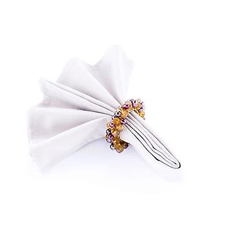 Napkin Ring Beaded Amber/Burgundy/Gold - Set Of 4 Pieces