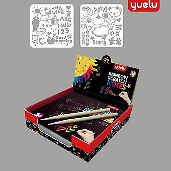 Rainbow Scratch Paper Card Set With Graffiti Wzornik do rysowania pióra Magic Color Scratch Notes