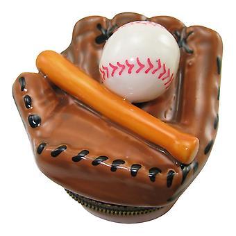 Бейсбольная перчатка команды Лиги бита и мяч фарфора навесные Брелок Box