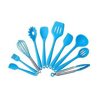 10PCS silicone Kitchen Utensil Set Alto Calor Resistente Azul