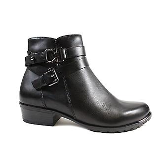 Caprice 25309 Black Leather Womens Ankle Boots