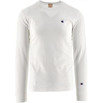 Champion White Crew Neck Long Sleeve T Shirt