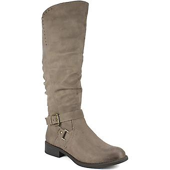 White Mountain Women's Shoes Liona Fabric Almond Toe Knee High Fashion Boots