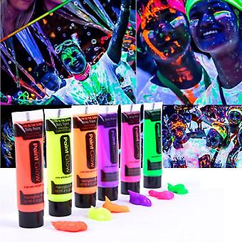 6 Colores Glow In Dark Body Art Paint, 10ml Uv Glow Face Body Paints Fashion