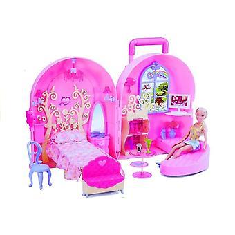 Puppenhauskoffer mit Zubehör - pink