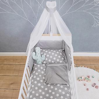 Puckdaddy 5-Piece Conjunto de cama Finja 135x100cm Reversível Design Estrela DotS Cinza