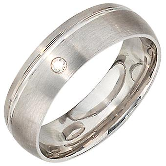 Partner Ring 925 Sterling Silver Rodium Matted 1 Kubisk Silver Ring