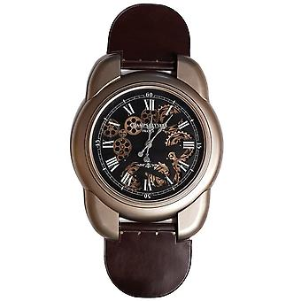 Large leather wrist watch moving cogs Clock - Gold