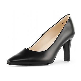 Peter Kaiser Tosca Classic Semi-pointed Mid Heel Court Shoes In Black Leather