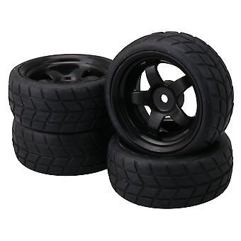 Plastic 5 Spoke Black Wheel Rims & Rubber Tires for RC 1: 10 Racing Car