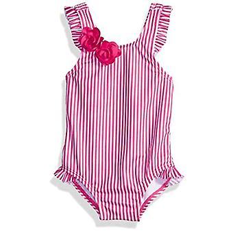 Gymboree Baby Boys 1-Piece Stripe Swimsuit, Fuchsia Stripe, Size 6-12 Months