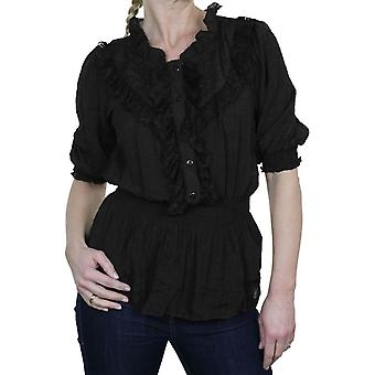 Women's Frilly Lace Elasticated Waist Blouse Shirt Ladies Everyday Casual Short Sleeve Ruffle Summer Tunic Top 8-18