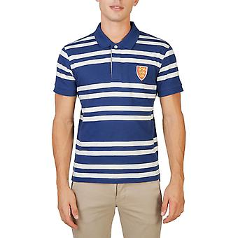 Oxford university - men's short-sleeves polo shirt with white and blue stripes-oriel-rugby-mm