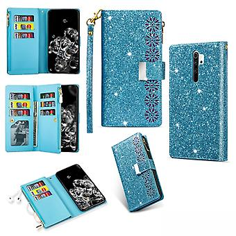 For Xiaomi Redmi Note 8 Pro Multi-card Slots Starry Sky Laser Carving Glitter Zipper Horizontal Flip Leather Case with Holder & Wallet & Lanyard(Sky B