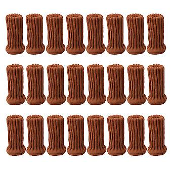24 Pieces Chair Leg Knitted Socks Floor Caps Table Pads Light Brown
