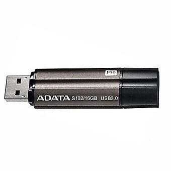 ADATA S102 High Speed ?? USB3.1 Computer Storage Metal USB Disk, Capaciteit: 16 GB(Zwart)