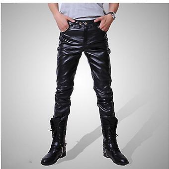 Men Skinny Faux Leather Leisure Pants Shiny Pants