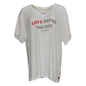 Peace Love World Women's Top Short Sleeve V Neck T Shirt White A307444