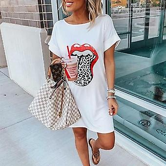 Leopard Lip Printed Short Sleeve Women T-shirt Dress