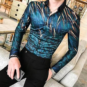 Męska koszula kwiatowa, jesienny długi rękaw, smoking Streetwear Męskie CasualOwe Koszule,