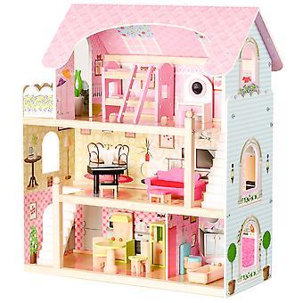 Puppenhaus - 3 Etagen mit 5 Zimmern - 71x63x30 cm