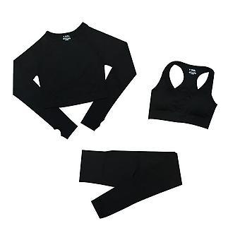 Crop Top donna fitness a maniche lunghe, tute sportive leggings a vita alta